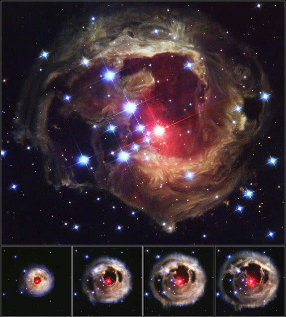 """This image shows the spectacular stellar outburst of V838 Monocerotis in 2002. Scientists now suspect the outburst was caused by a so-called """"common-envelope event,"""" an outburst from two stars sharing a gas shell. Image released Jan. 24, 2013."""