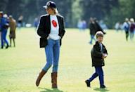 <p>With Prince William at Guards Polo Club for a match. </p>