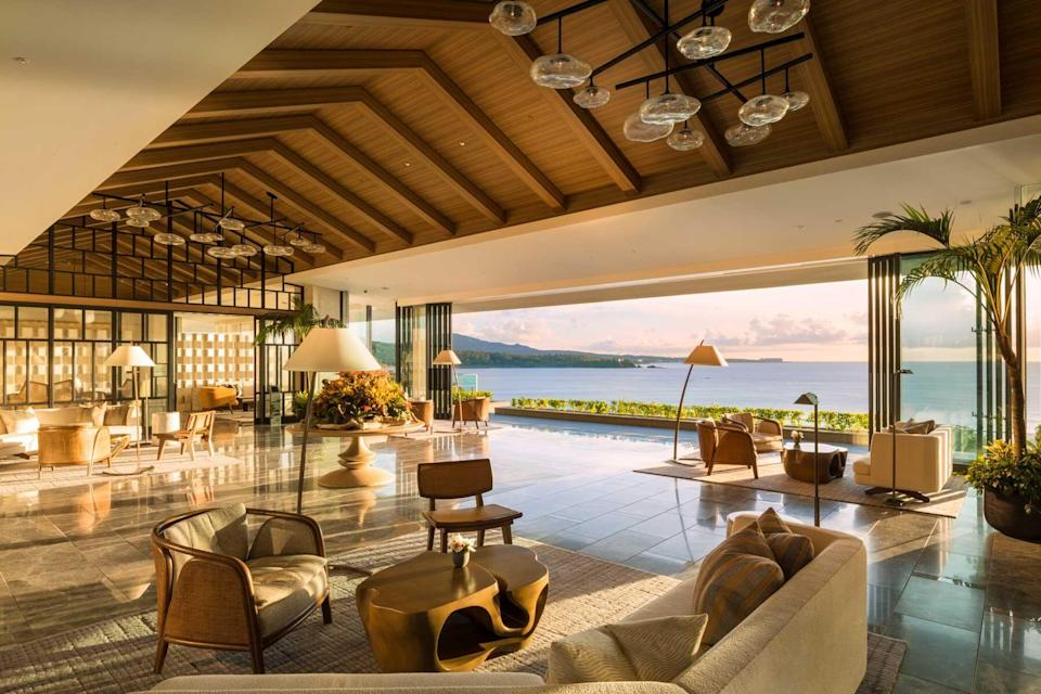 Lobby at the Halekulani Okinawa, voted one of the best hotels in the world