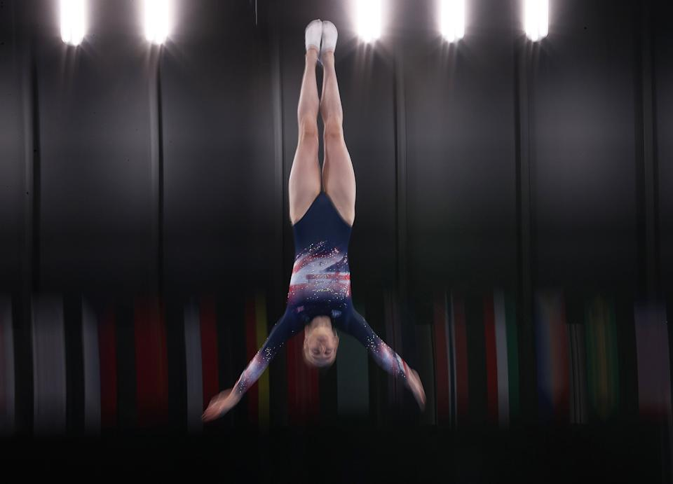 TOKYO, JAPAN - JULY 30, 2021: Great Britain's Bryony Page competes in the women's trampoline gymnastics qualification during the 2020 Summer Olympic Games at Ariake Gymnastics Centre. Sergei Bobylev/TASS (Photo by Sergei Bobylev\TASS via Getty Images)