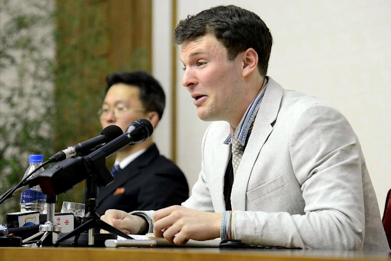 US student Otto Warmbier was sentenced to 15 years hard labour in North Korea for stealing a propaganda poster at a hotel in Pyongyang (AFP Photo/KCNA VIA KNS)