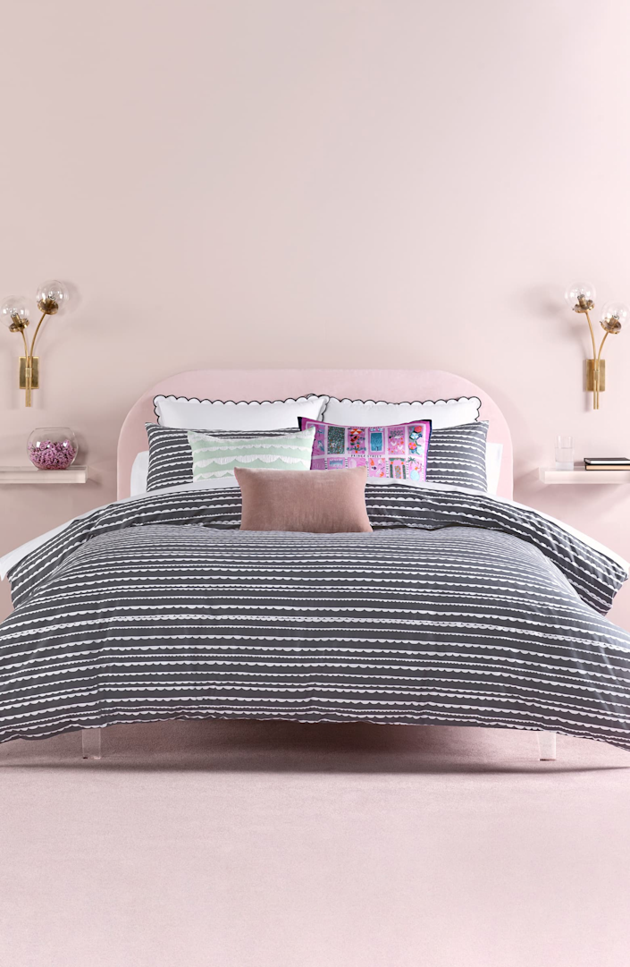 """<h3><strong>Nordstrom</strong></h3> <br><br><strong>Best For: Brand-Name Bedding & Bath Essentials<br></strong>From store and site exclusive to big-name brands, Nordstrom boasts more than fashion to beauty essentials. The all-encompassing site holds a well stocked lineup of home goods in a wide range of prices and styles — whether you're hunting for premium bedding by <a href=""""https://shop.nordstrom.com/brands/kate-spade-new-york--999/home"""" rel=""""nofollow noopener"""" target=""""_blank"""" data-ylk=""""slk:Kate Spade New York"""" class=""""link rapid-noclick-resp"""">Kate Spade New York</a>, chic kitchenware by <a href=""""https://shop.nordstrom.com/brands/anthropologie--17821/home"""" rel=""""nofollow noopener"""" target=""""_blank"""" data-ylk=""""slk:Anthropologie"""" class=""""link rapid-noclick-resp"""">Anthropologie</a>, or affordable-stylish decor by <a href=""""https://shop.nordstrom.com/brands/nordstrom-at-home--3767/home"""" rel=""""nofollow noopener"""" target=""""_blank"""" data-ylk=""""slk:Nordstrom at Home"""" class=""""link rapid-noclick-resp"""">Nordstrom at Home</a>.<br><br><strong><em><a href=""""https://shop.nordstrom.com/content/bed-bath-home-decor"""" rel=""""nofollow noopener"""" target=""""_blank"""" data-ylk=""""slk:Shop Nordstrom"""" class=""""link rapid-noclick-resp"""">Shop Nordstrom</a></em></strong><br><br><strong>kate spade new york</strong> Scallop Row Comforter & Sham Set, $, available at <a href=""""https://go.skimresources.com/?id=30283X879131&url=https%3A%2F%2Fwww.nordstrom.com%2Fs%2Fkate-spade-new-york-scallop-row-comforter-sham-set%2F5232717"""" rel=""""nofollow noopener"""" target=""""_blank"""" data-ylk=""""slk:Nordstrom"""" class=""""link rapid-noclick-resp"""">Nordstrom</a><br><br><br><br>"""