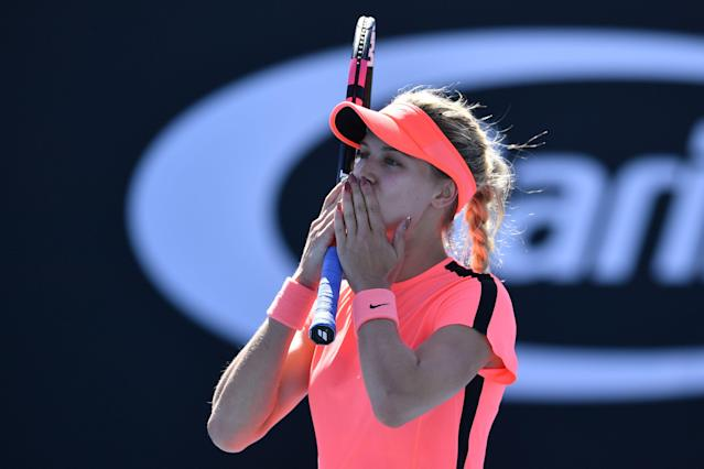 "Genie Bouchard texted her dad after her ""Sports Illustrated"" swimsuit photos were released. (Getty Images)"
