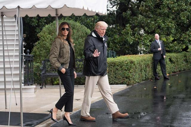 <p>Melania was infamously photographed wearing stiletto heels, black slacks, and an olive green jacket while departing on Marine One to visit the Hurricane Harvey relief efforts. She later changed into sneakers before arriving in Texas.</p>