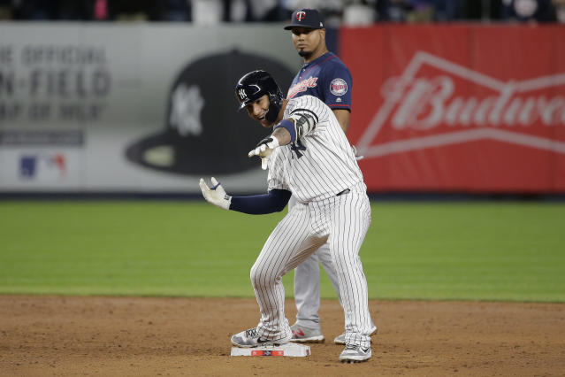 New York Yankees' Gleyber Torres reacts after driving in two runs against the Minnesota Twins during the fifth inning of Game 1 of an American League Division Series baseball game, Friday, Oct. 4, 2019, in New York. (AP)