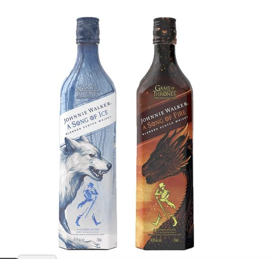 """<p><strong>Johnnie Walker</strong></p><p>reservebar.com</p><p><strong>$1942.00</strong></p><p><a href=""""https://go.redirectingat.com?id=74968X1596630&url=https%3A%2F%2Fwww.reservebar.com%2Fproducts%2Fjohnnie-walker-a-song-of-ice-and-a-song-of-fire&sref=http%3A%2F%2Fwww.delish.com%2Ffood%2Fg25256834%2Fgame-of-thrones-gifts%2F"""" target=""""_blank"""">BUY NOW</a></p><p>The series has officially ended (RIP), but Johnnie Walker's still releasing <em>GOT</em> bottles so we can keep the legacy alive.</p>"""