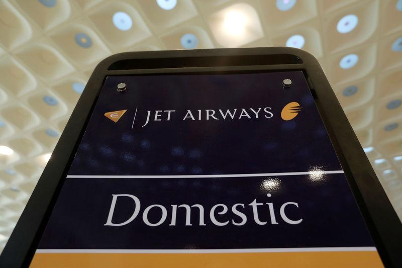 A Jet Airways signage is seen at a check-in counter at the Chhatrapati Shivaji International airport in Mumbai