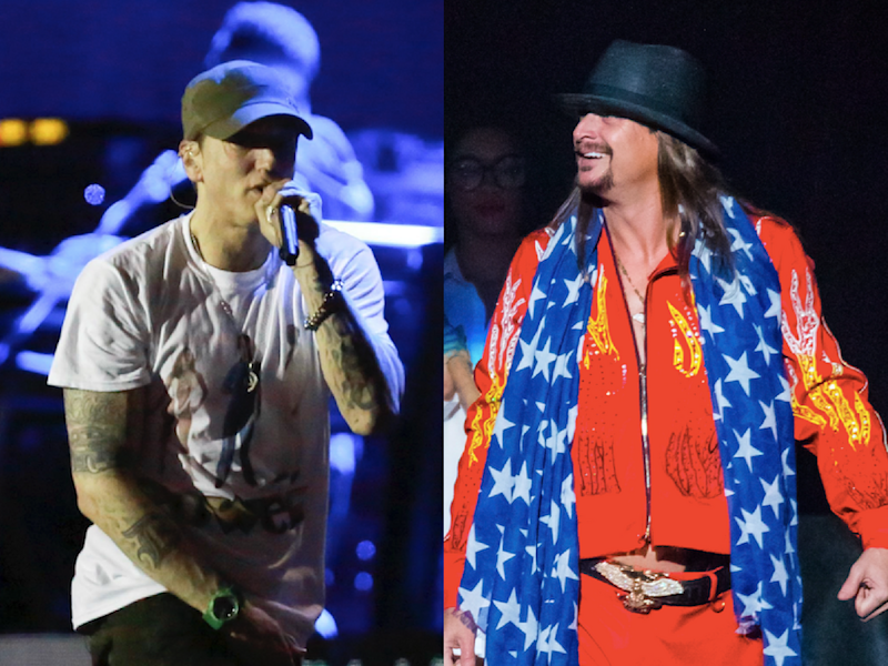 Eminem, left, and Kid Rock, right, both proudly represent Detroit. Politically, they have very different ideas. (Getty)