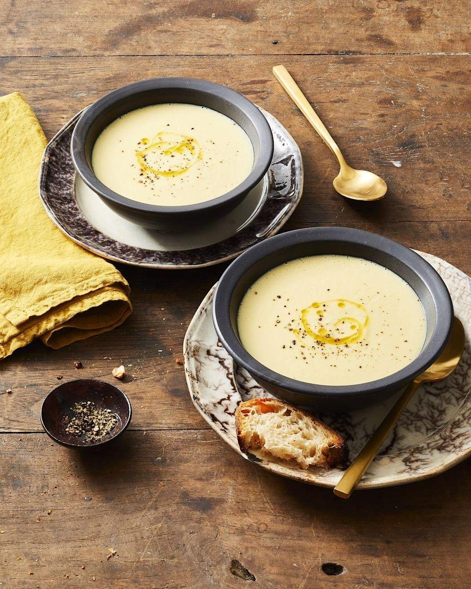 """<p>There's no better way to say goodbye to winter than with a hearty St. Patrick's Day potato soup that's flavored with garlic, fennel and leeks. </p><p><em><a href=""""https://www.goodhousekeeping.com/food-recipes/easy/a29428925/potato-leek-soup-recipe/"""" rel=""""nofollow noopener"""" target=""""_blank"""" data-ylk=""""slk:Get the recipe for Potato Leek Soup »"""" class=""""link rapid-noclick-resp"""">Get the recipe for Potato Leek Soup »</a> </em></p>"""