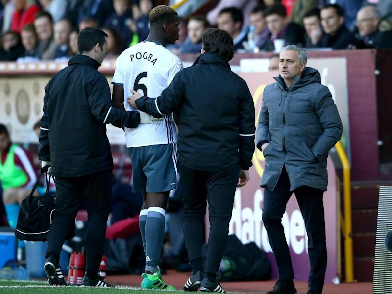 Pogba was ruled out of the derby after limped off against Burnley on the weekend (Getty)