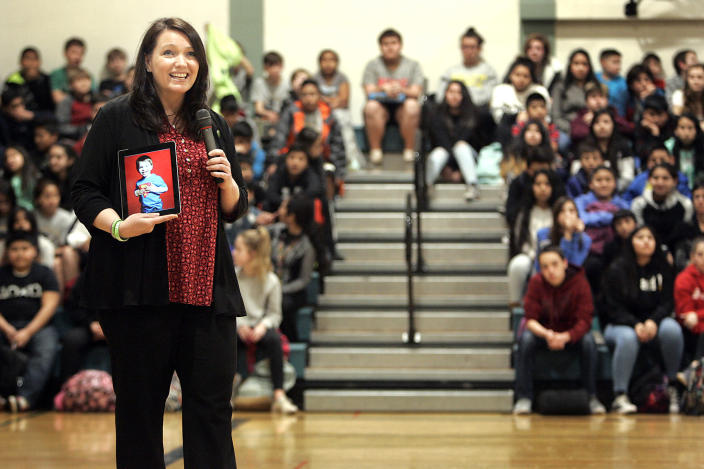 Nicole Hockley, founder and managing director of Sandy Hook Promise, shares a photograph of her son Dylan at a Harvest Magnet Middle School assembly in Napa, Calif., in March 2017. (Photo: Napa Valley Register via Zuma Wire)