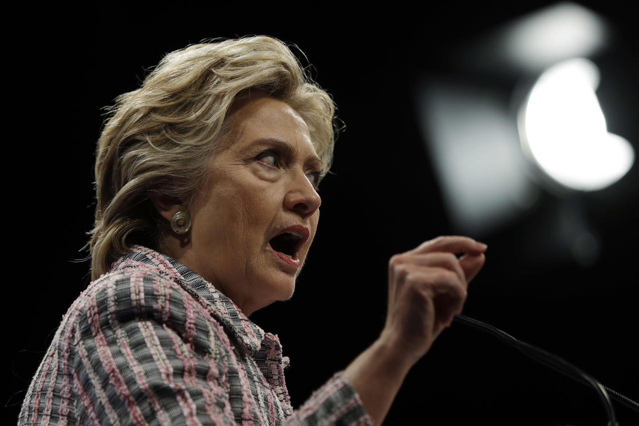<p> Democratic presidential candidate Hillary Clinton speaks during a campaign stop in Fort Pierce, Fla., Friday, Sept. 30, 2016. (AP Photo/Matt Rourke) </p>
