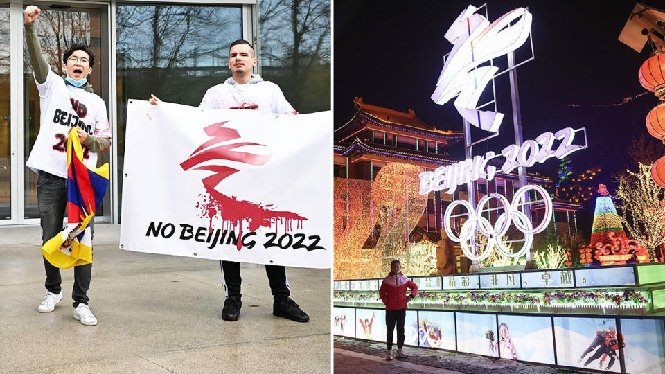 Activists, pictured here calling for a boycott of the 2022 Winter Olympics in Beijing.
