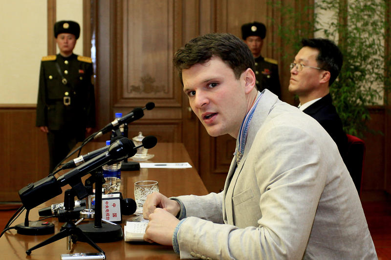 """FILE - In this Feb. 29, 2016, file photo, American student Otto Warmbier speaks as Warmbier is presented to reporters in Pyongyang, North Korea. Warmbier's parents spoke out Friday, March 1, 2019, after President Donald Trump's comment this week that he takes North Korea's leader Kim Jong Un """"at his word"""" that he was unaware of alleged mistreatment during the young man's 17 months of captivity. Warmbier died at age 22 soon after his return in June 2017. (AP Photo/Kim Kwang Hyon, File)"""