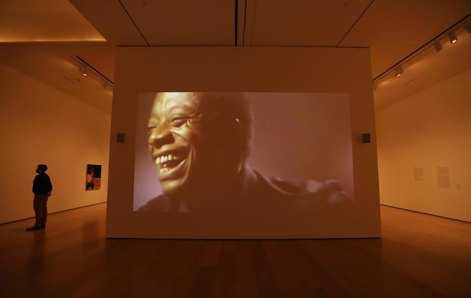 """At the """"Made in L.A."""" exhibition: Harmony Holiday, """"God's Suicide,"""" 2020, video projection, 60 minutes"""
