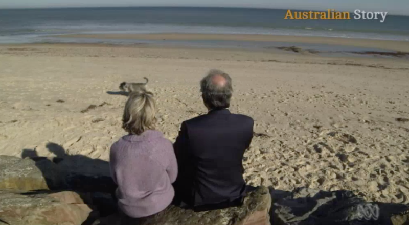 University of Adelaide Professor Derek Abbott and wife, Rachel Egan, sit on Somerton Beach where the man who could prove to be her grandfather was found more than 70 years ago. Source: Australian Story