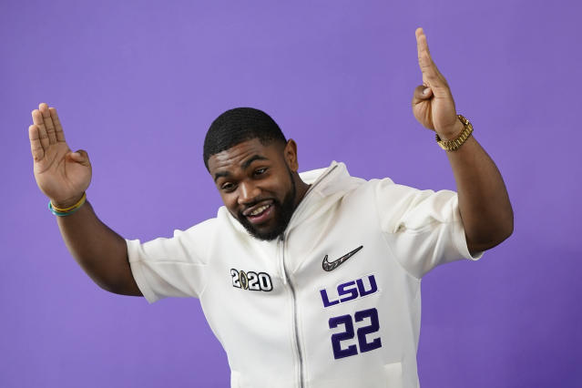LSU running back Clyde Edwards-Helaire poses during media day for NCAA College Football Playoff national championship game Saturday, Jan. 11, 2020, in New Orleans. Clemson is scheduled to play LSU on Monday. (AP Photo/David J. Phillip).