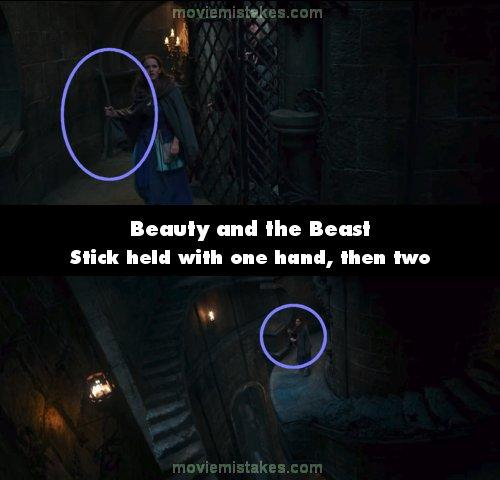 "<p>When Belle finds her father locked up she's holding her stick with one hand, then the angle changes and she's using both. We switch back and she's using one hand again.<br /> (<a rel=""nofollow"" href=""https://www.moviemistakes.com/"">MovieMistakes.com</a>) </p>"