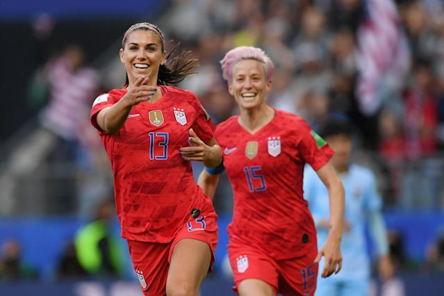 Alex Morgan of the USA celebrates after scoring her team's first goal during the 2019 FIFA Women's World Cup France group F match between USA and Thailand at Stade Auguste Delaune on June 11, 2019 in Reims, France. (Photo by Alex Caparros - FIFA/FIFA via Getty Images)