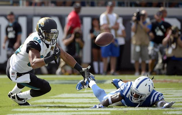 Jacksonville Jaguars wide receiver Cecil Shorts (84) cannot hold on to a pass in the end zone as he is defended by Indianapolis Colts cornerback Greg Toler during the second half of an NFL football game in Jacksonville, Fla., Sunday, Sept. 29, 2013.(AP Photo/Phelan M. Ebenhack)