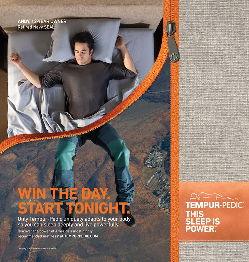 """The """"Tempur-Pedic Sleep Is Power"""" campaign seamlessly links how individuals spend their nights – on their Tempur-Pedic mattresses – and their days training, running, surfing and living at peak performance. Here, Andy Stumpf, 12-year owner and former Navy SEAL is highlighted in one of the campaign's print ads."""