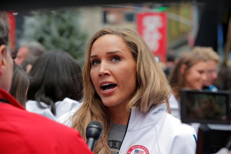 Olympian Lolo Jones is interviewed during an event in Times Square to celebrate 100 days from the start of the PyeongChang 2018 Olympic Games in South Korea, in New York, U.S., November 1, 2017. REUTERS/Lucas Jackson