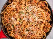 """<p>You have no excuse to not make this stupid-easy ragu: Made with turkey mince, white wine, and chopped tomatoes, it's a flavour bomb.</p><p>Get the <a href=""""https://www.delish.com/uk/cooking/recipes/a35467283/spaghetti-with-turkey-ragu-recipe/"""" rel=""""nofollow noopener"""" target=""""_blank"""" data-ylk=""""slk:Spaghetti with Turkey Ragu"""" class=""""link rapid-noclick-resp"""">Spaghetti with Turkey Ragu</a> recipe.</p>"""