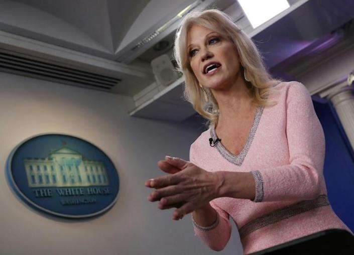 """President Donald Trump's senior aide Kellyanne Conway coined the term """"alternative facts"""" (AFP Photo/MARK WILSON)"""