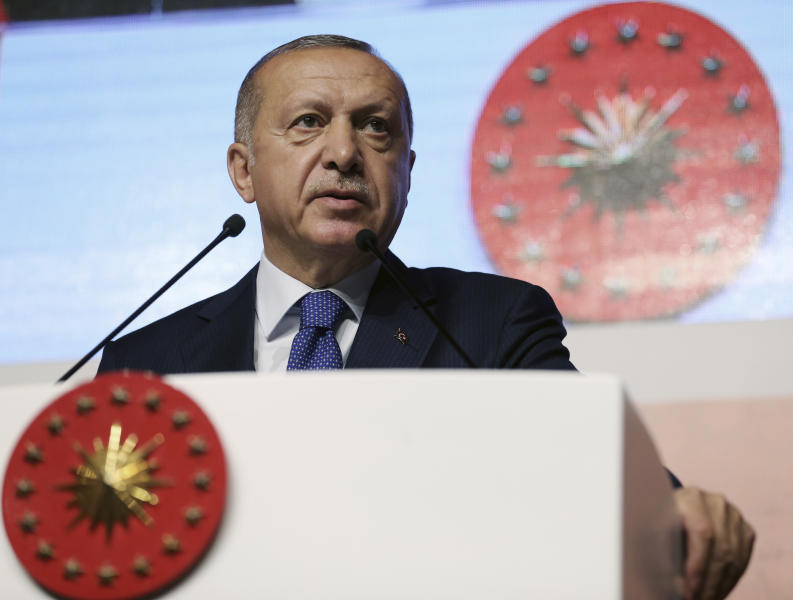 Turkey's President Recep Tayyip Erdogan speaks at an assembly for religious schools, in Istanbul, Saturday, April 13, 2019. Erdogan's ruling party still appealing the results of the local elections in Istanbul, where the opposition has a razor-thin lead and Erdogan said Wednesday election results in Istanbul should be canceled over irregularities.(Presidential Press Service via AP, Pool)