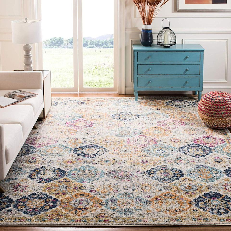 "<p>Amazon has everything under the sun, including an array of affordable rugs. There's a huge selection of rug types, styles, and prices to fit your needs — along with two-day shipping, so you can complete your room stat.</p><p><a class=""body-btn-link"" href=""https://www.amazon.com/Safavieh-Collection-Multicolored-Bohemian-Distressed/dp/B01LXTN83Z/?tag=syn-yahoo-20&ascsubtag=%5Bartid%7C10055.g.30858332%5Bsrc%7Cyahoo-us"" target=""_blank"">SHOP NOW</a></p>"