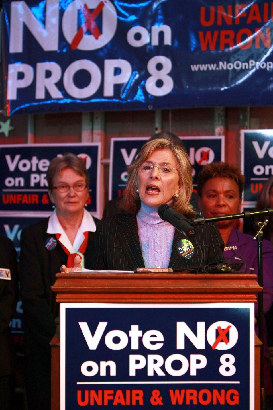 """<p>Here, Senator Barbara Boxer speaks to crowds during a """"No on Prop 8"""" rally in October 2008 in Oakland, California. The senator voiced her support for defeating Prop 8, which would change the California state constitution to legally recognize only marriages between men and women. </p><p>Only six months after marriage equality became law in the state via a decision from the Supreme Court, voters in California approved Proposition 8 at the polls, which banned same-sex couples from marrying. </p>"""
