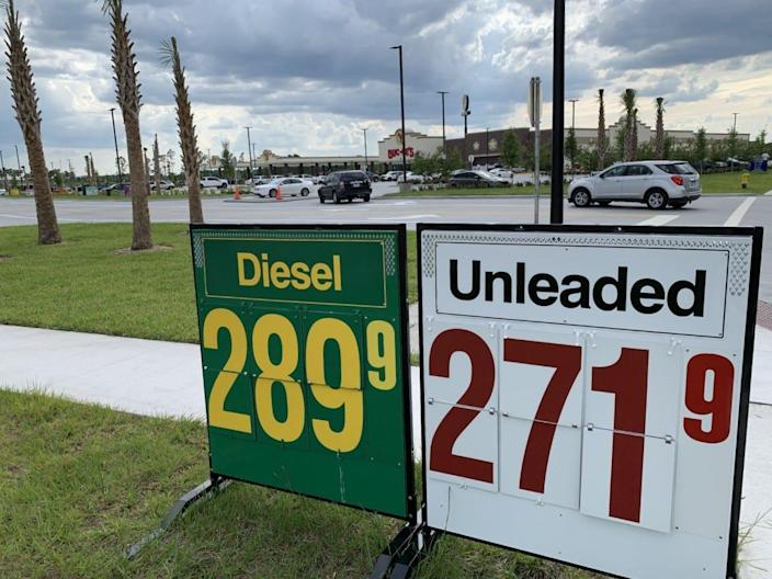 Signs in front of the Buc-ee's gas station/travel convenience center in Daytona Beach show the price for regular unleaded gasoline is $2.719 per gallon as of late afternoon Monday, May 10, 2021.