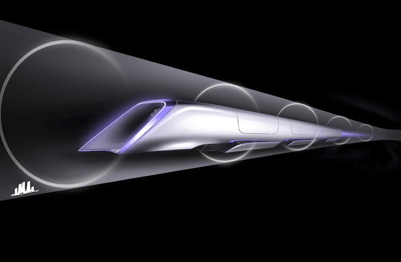 "An image released by Tesla Motors, is a conceptual design rendering of the Hyperloop passenger transport capsule. Billionaire entrepreneur Elon Musk on Monday, Aug. 12, 2013 unveiled a concept for a transport system he says would make the nearly 400-mile trip in half the time it takes an airplane. The ""Hyperloop"" system would use a large tube with capsules inside that would float on air, traveling at over 700 miles per hour. (AP Photo/Tesla Motors)"