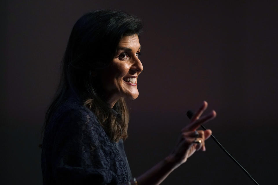 FILE- Former Ambassador to the United Nations Nikki Haley speaks during the Iowa Republican Party's Lincoln Dinner, Thursday, June 24, 2021, in West Des Moines, Iowa. The Republican State Leadership Committee, a group intent on expanding Republican power across state-level offices, is rolling out a national effort Thursday, Oct. 7 to diversify and broaden the GOP, with an advisory council headed up by a number of possible future presidential hopefuls including Haley. (AP Photo/Charlie Neibergall, File)