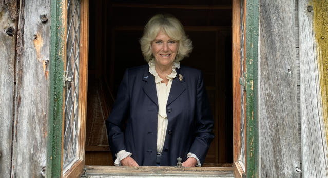 The Duchess of Cornwall at Birkhall in Scotland, inside a Wendy House originally built on the estate in 1935 for the then Princess Elizabeth and Princess Margaret. (Clarence House)
