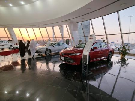 2019 Camry Hybrid is seen displayed for sale in Toyota dealer in Dhahran