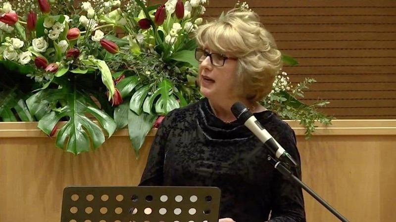 Mary McAleese delivers a keynote address at the Voices of Faith conference. (Photo: Voices of Faith / Facebook)