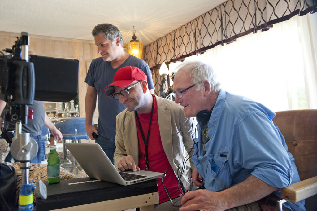 """Director Steven Soderbergh and producer Jerry Weintraub behind the scenes of the HBO Film, """"Behind the Candelabra."""""""