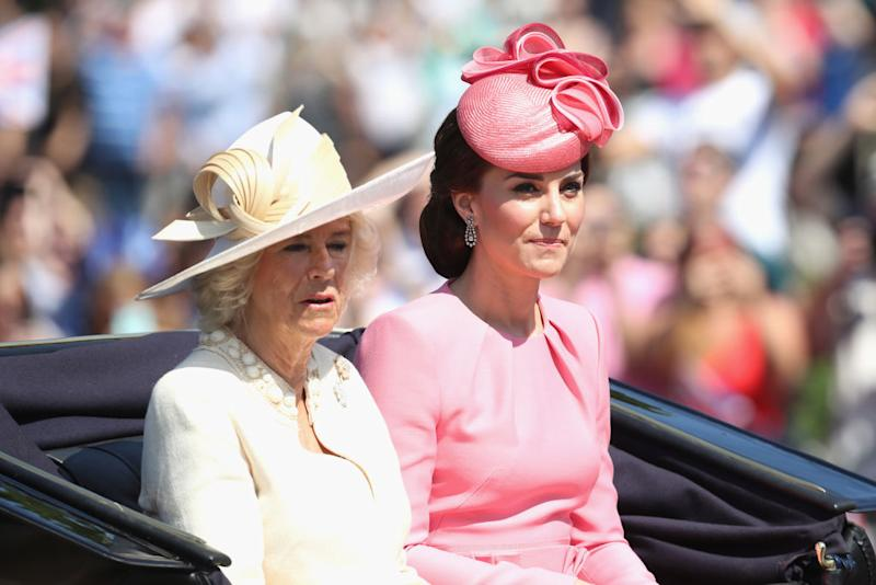 The Duchess of Cambridge has appeared in a video call with the Duchess of Cornwall, pictured at the annual Trooping The Colour parade on June 2017 (Getty Images)
