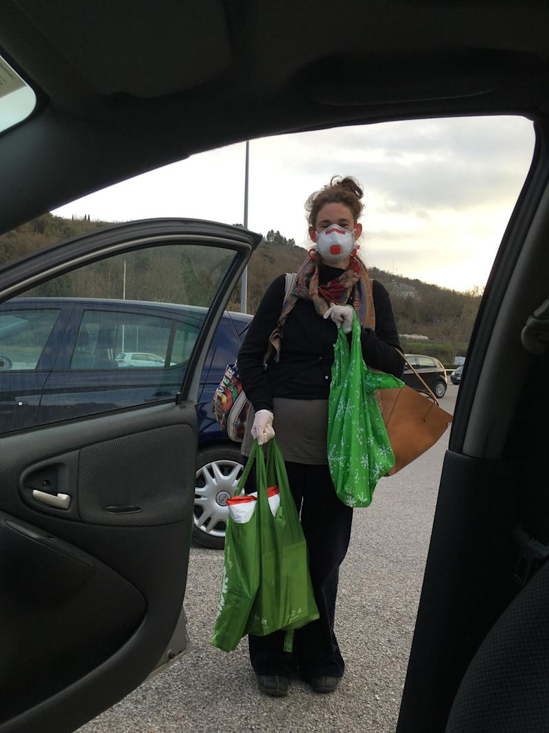 Katy Thomas says many people are doing their grocery shopping in masks and gloves. (Photo: Katy Thomas)