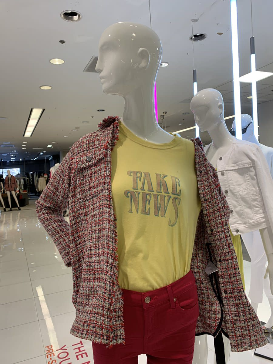"""Bloomingdale's has removed a shirt that read """"Fake News"""" and has apologized for the apparent fashion faux pas. (Photo: Allison Kaden via Twitter)"""