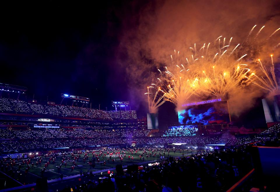 TAMPA, FLORIDA - FEBRUARY 07: A view of the stadium as The Weeknd performs during the Pepsi Super Bowl LV Halftime Show at Raymond James Stadium on February 07, 2021 in Tampa, Florida. (Photo by Kevin C. Cox/Getty Images)