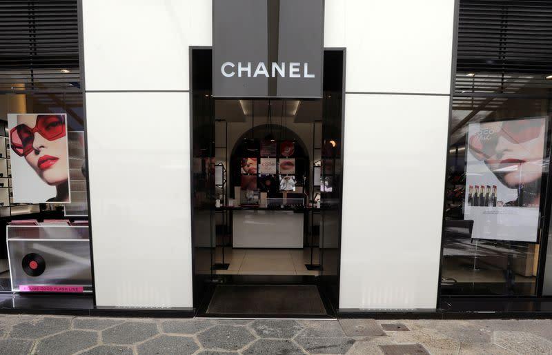 A view shows a Chanel logo on a store of luxury fashion group Chanel in Nice