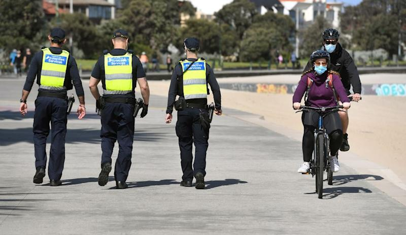 Protective services officers patrol along the St Kilda Beach on September 3. Source: Getty