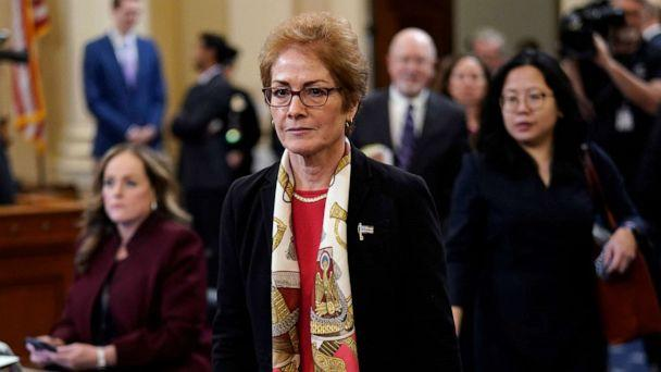 PHOTO: Former U.S. Ambassador to Ukraine Marie Yovanovitch returns for additional questioning after a break while testifying before the House Intelligence Committee in the Longworth House Office Building on Capitol Hill, Nov. 15, 2019. in Washington. (Win Mcnamee/Getty Images)
