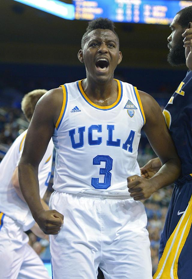 UCLA guard Jordan Adams celebrates after scoring during the second half of an NCAA college basketball game against Drexel, Friday, Nov. 8, 2013, in Los Angeles. UCLA won 72-67. (AP Photo/Mark J. Terrill)