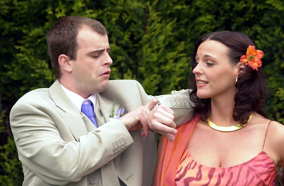 Coronation Street characters Steve McDonald, played by Simon Gregson and Karen Phillips, played by Suranne Jones after marrying at Salford Registry Office in Manchester.   (Photo by Haydn West - PA Images/PA Images via Getty Images)