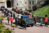 <p>Prince Charles and Princess Anne led the procession behind the duke's coffin through the grounds of Windsor Castle and to his final resting place at St George's Chapel. (Getty)</p>