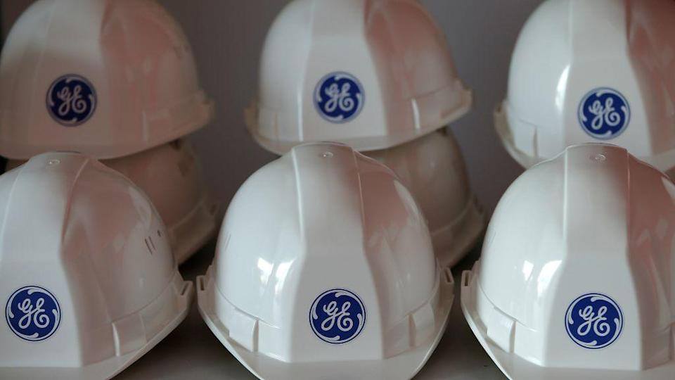 General Electric logo is pictured on working helmets