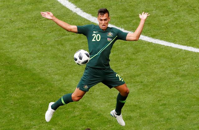 Soccer Football - World Cup - Group C - Denmark vs Australia - Samara Arena, Samara, Russia - June 21, 2018 Australia's Trent Sainsbury in action REUTERS/David Gray